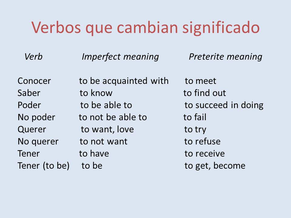 Verbos que cambian significado