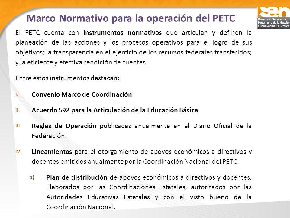 Marco Normativo para la operación del PETC