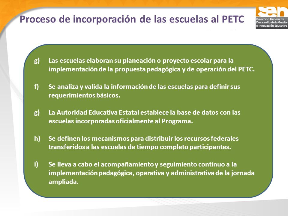 Proceso de incorporación de las escuelas al PETC