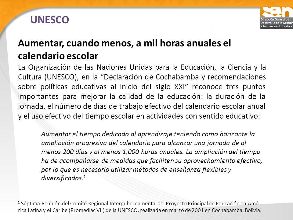 UNESCO Aumentar, cuando menos, a mil horas anuales el calendario escolar.