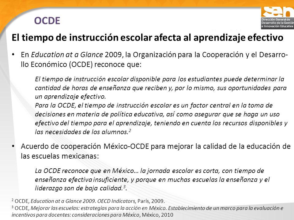 OCDE El tiempo de instrucción escolar afecta al aprendizaje efectivo