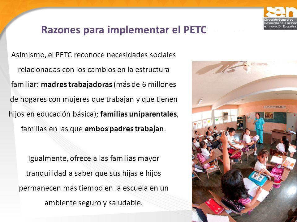 Razones para implementar el PETC