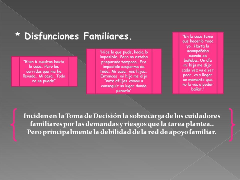 * Disfunciones Familiares.