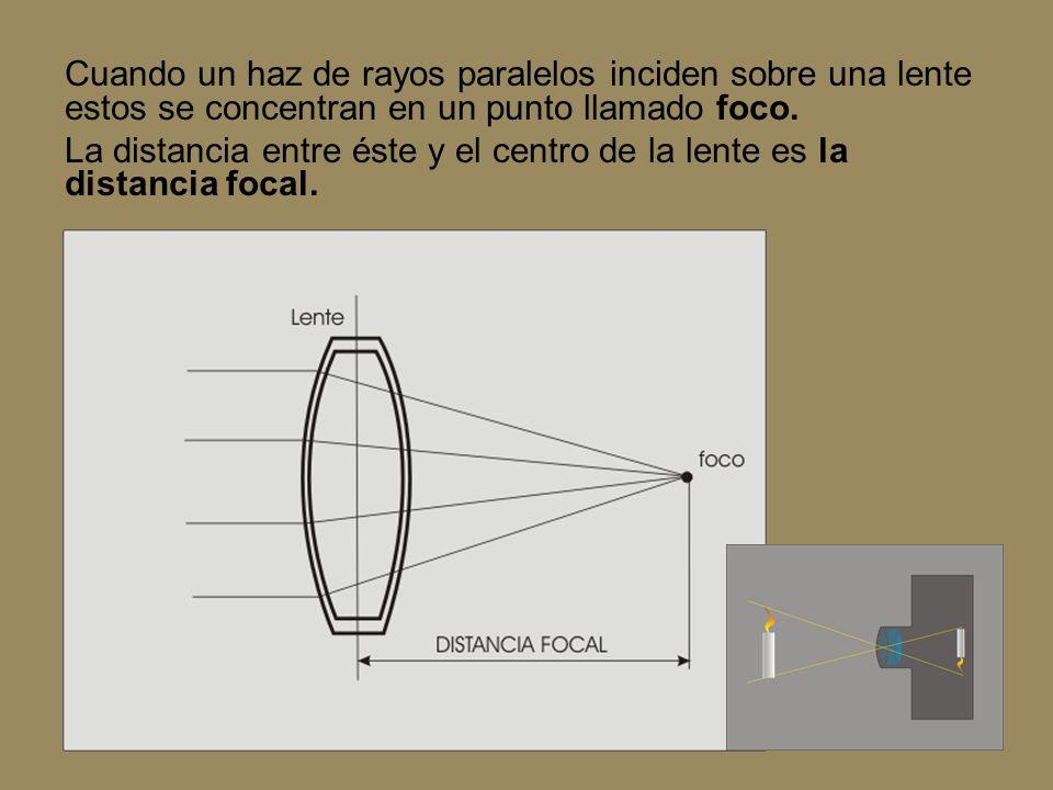 Cuando un haz de rayos paralelos inciden sobre una lente estos se concentran en un punto llamado foco.