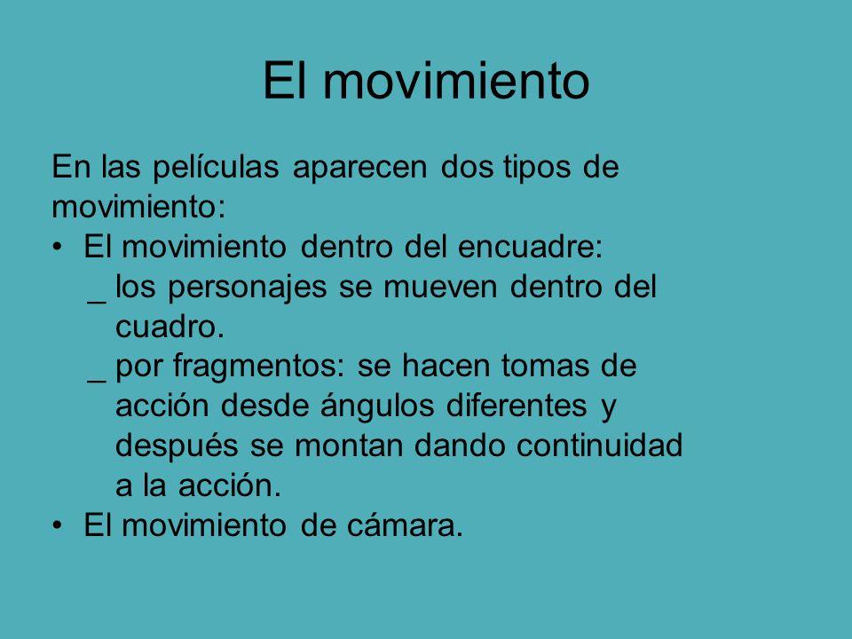 El movimiento En las películas aparecen dos tipos de movimiento: