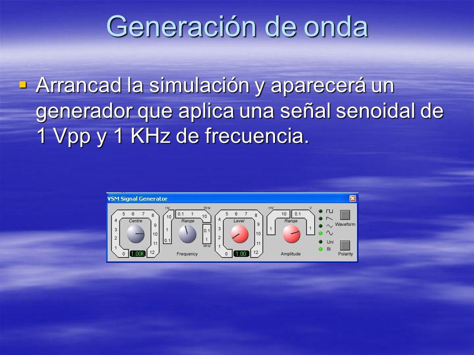 Generación de onda Arrancad la simulación y aparecerá un generador que aplica una señal senoidal de 1 Vpp y 1 KHz de frecuencia.