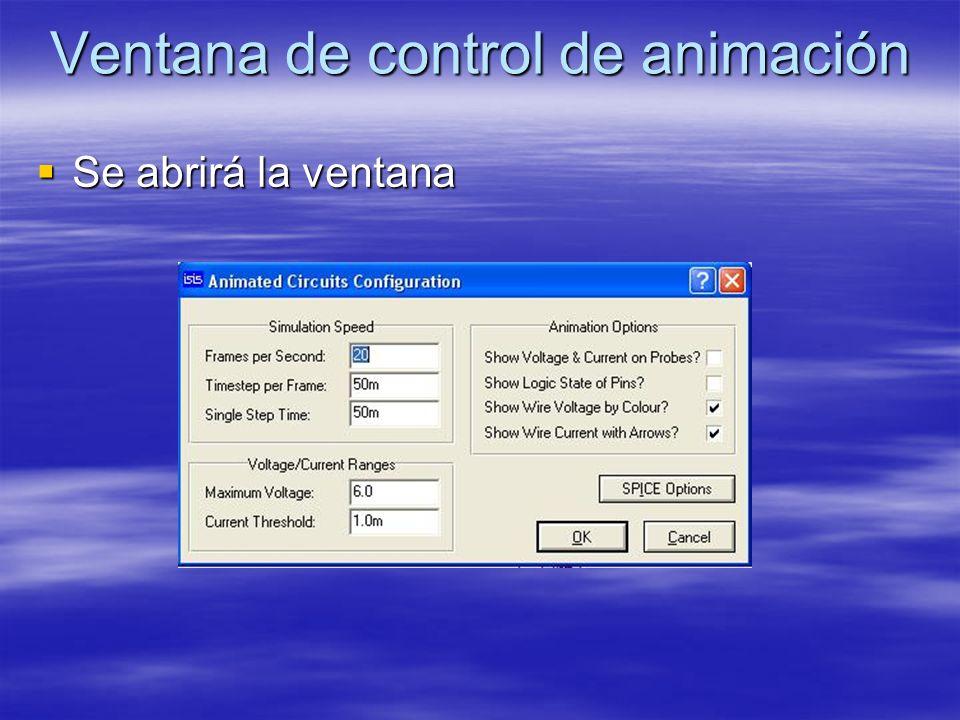 Ventana de control de animación