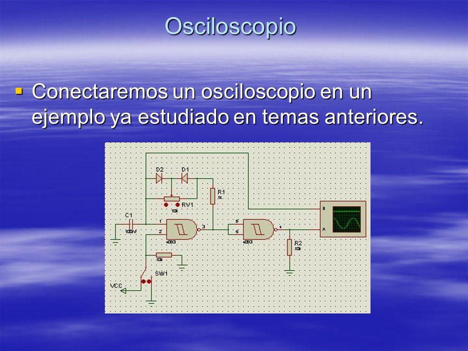 Osciloscopio Conectaremos un osciloscopio en un ejemplo ya estudiado en temas anteriores.