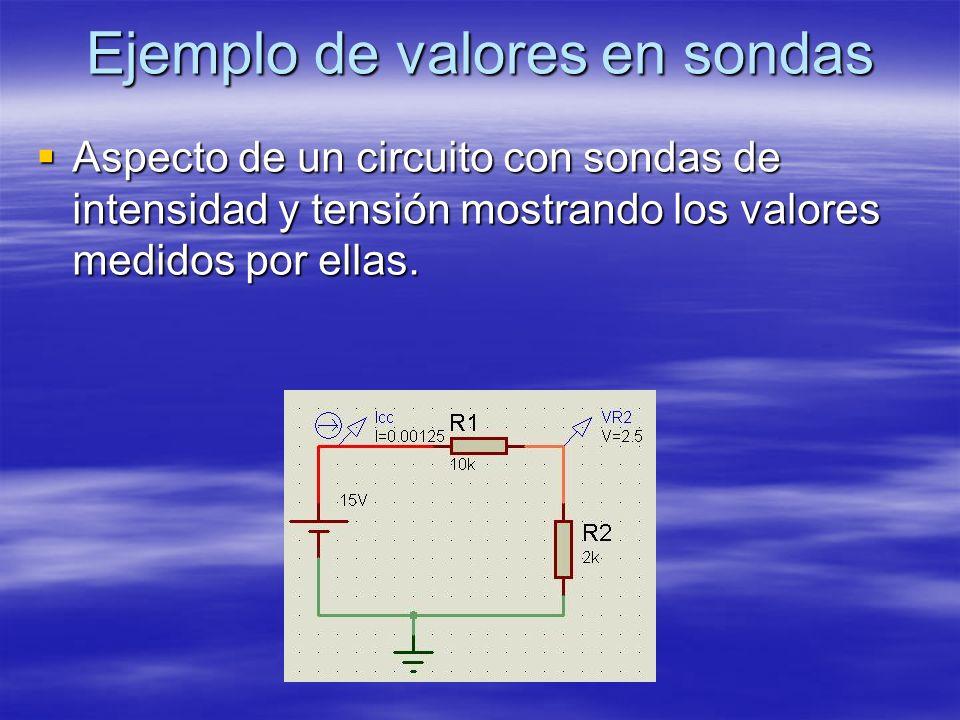 Ejemplo de valores en sondas