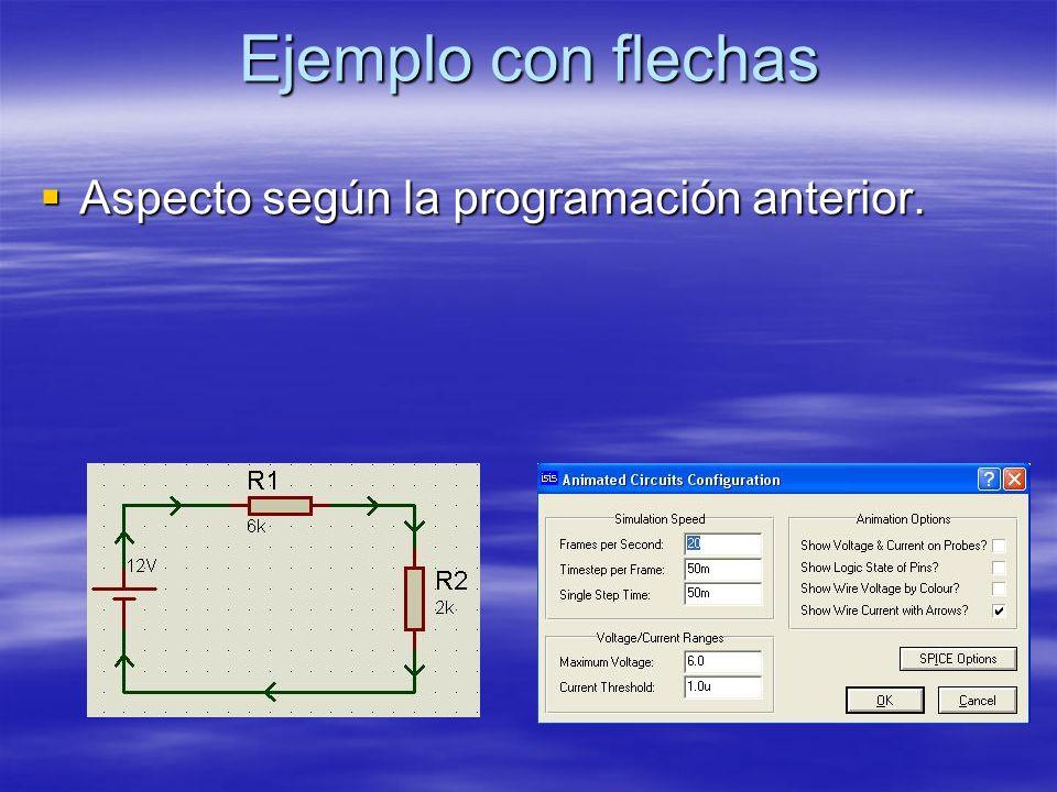 Ejemplo con flechas Aspecto según la programación anterior.