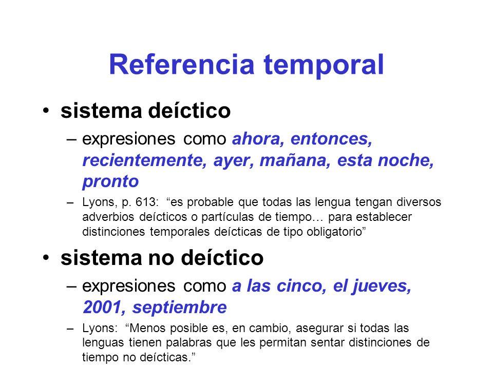 Referencia temporal sistema deíctico sistema no deíctico