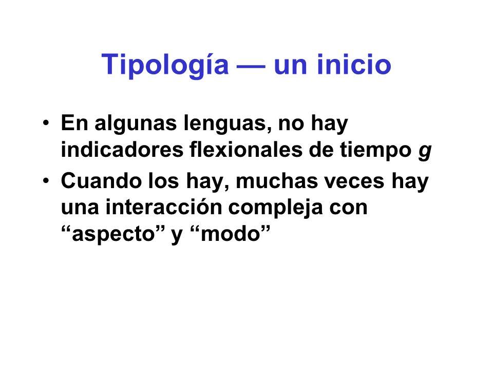 Tipología — un inicio En algunas lenguas, no hay indicadores flexionales de tiempo g.