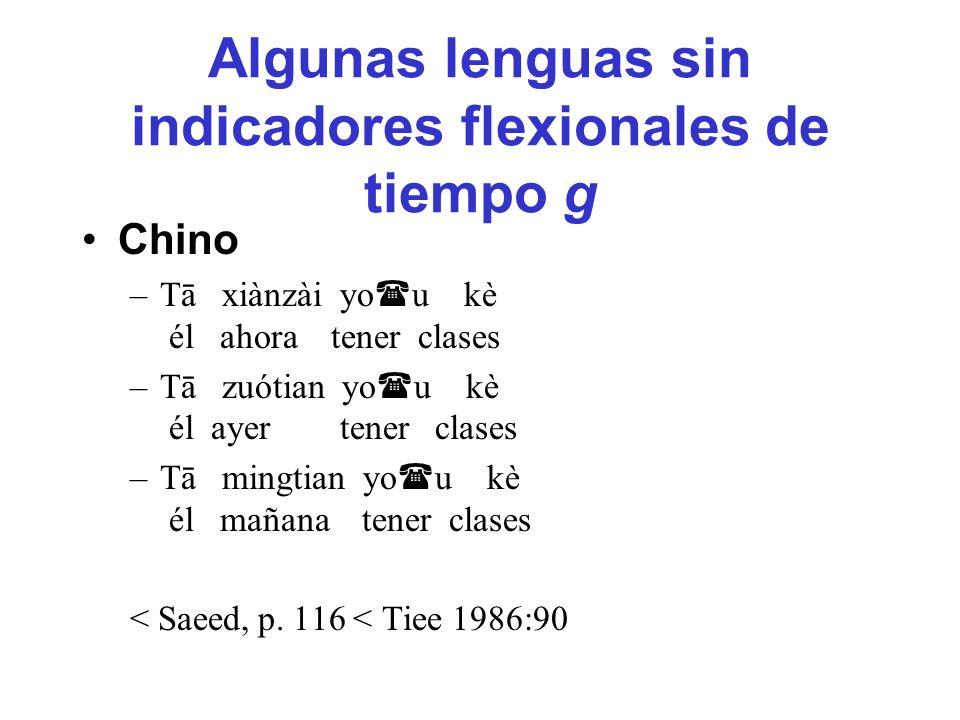 Algunas lenguas sin indicadores flexionales de tiempo g