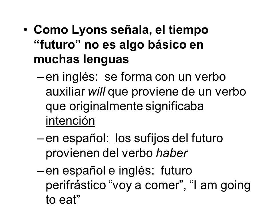 Como Lyons señala, el tiempo futuro no es algo básico en muchas lenguas