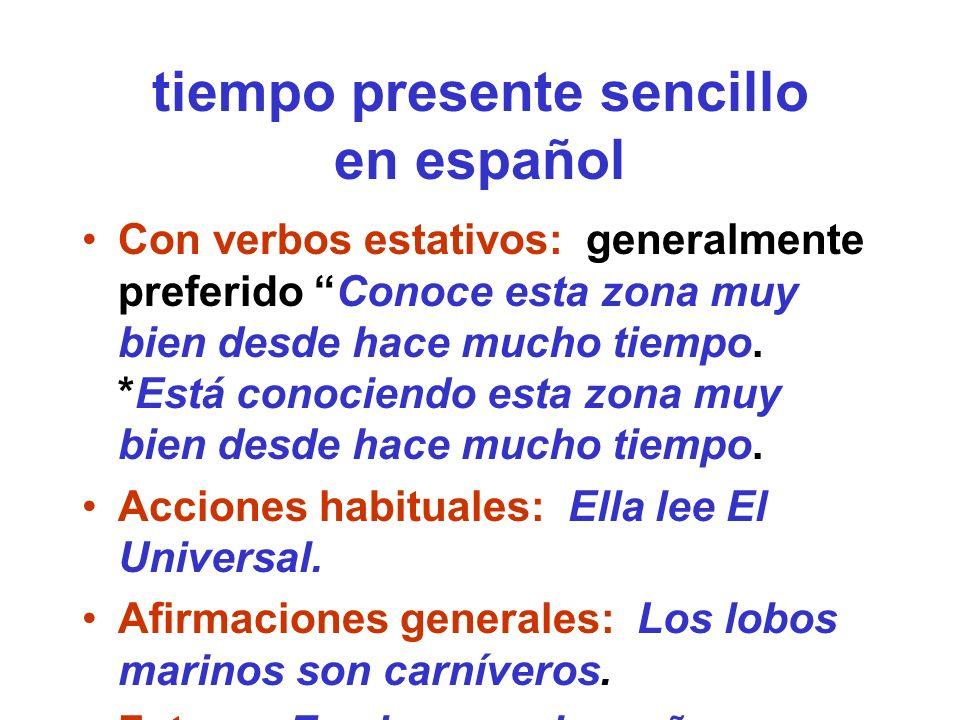 tiempo presente sencillo en español
