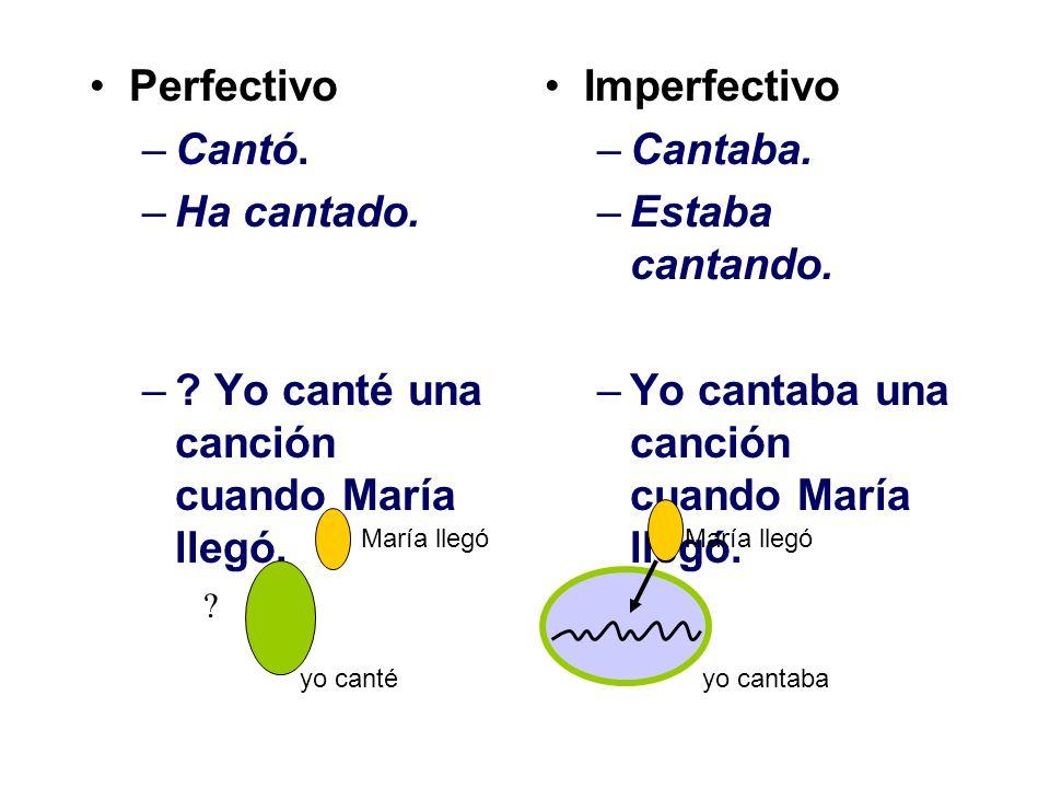 Yo canté una canción cuando María llegó. Imperfectivo Cantaba.