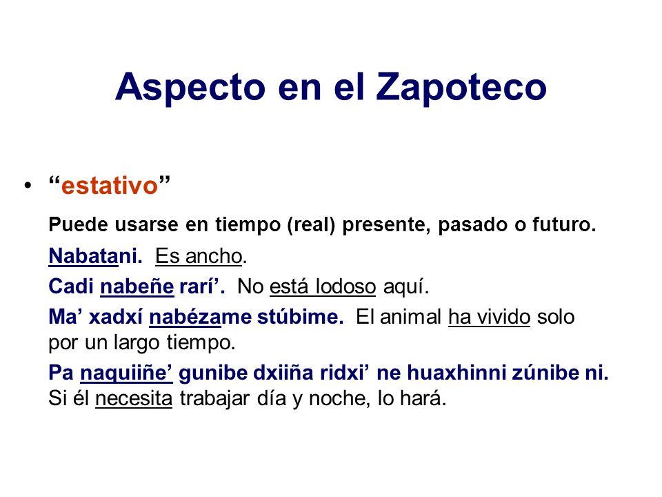 Aspecto en el Zapoteco estativo