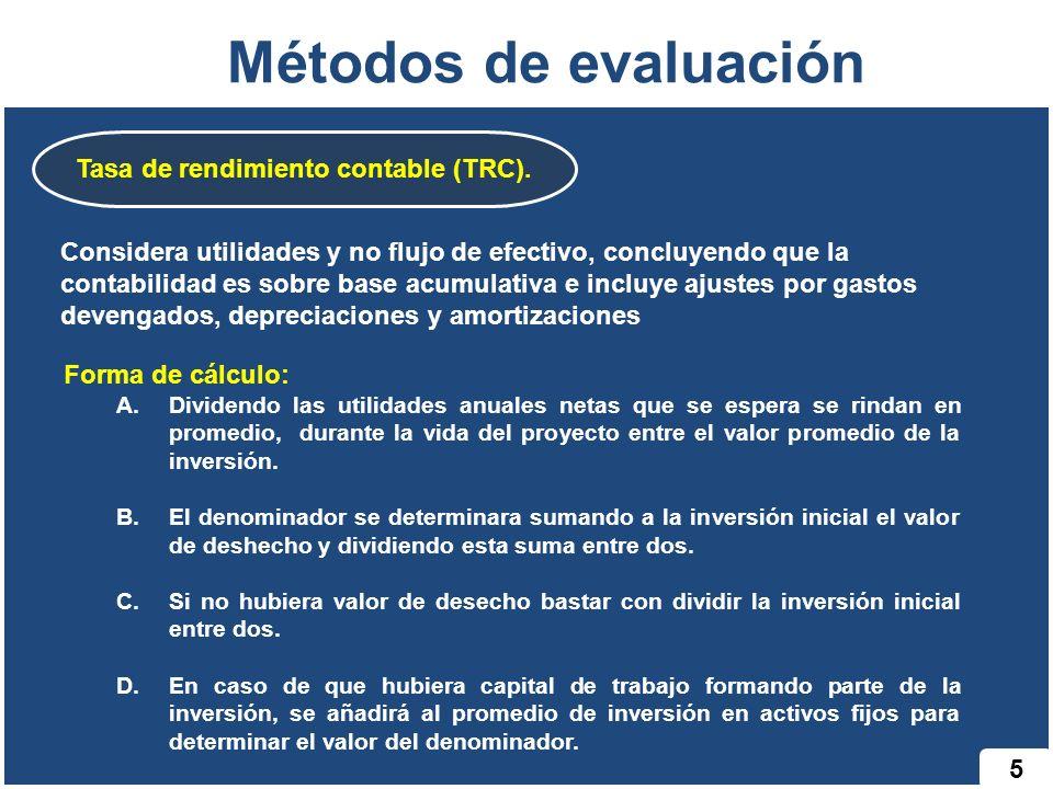 Tasa de rendimiento contable (TRC).