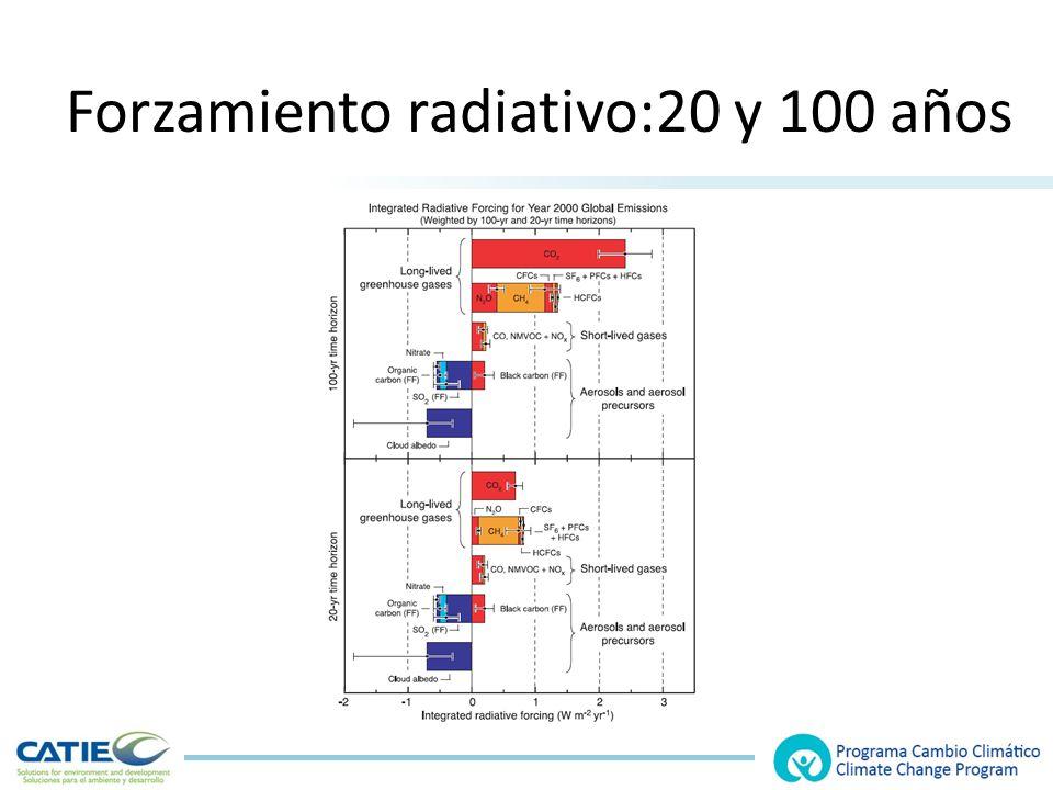 Forzamiento radiativo:20 y 100 años