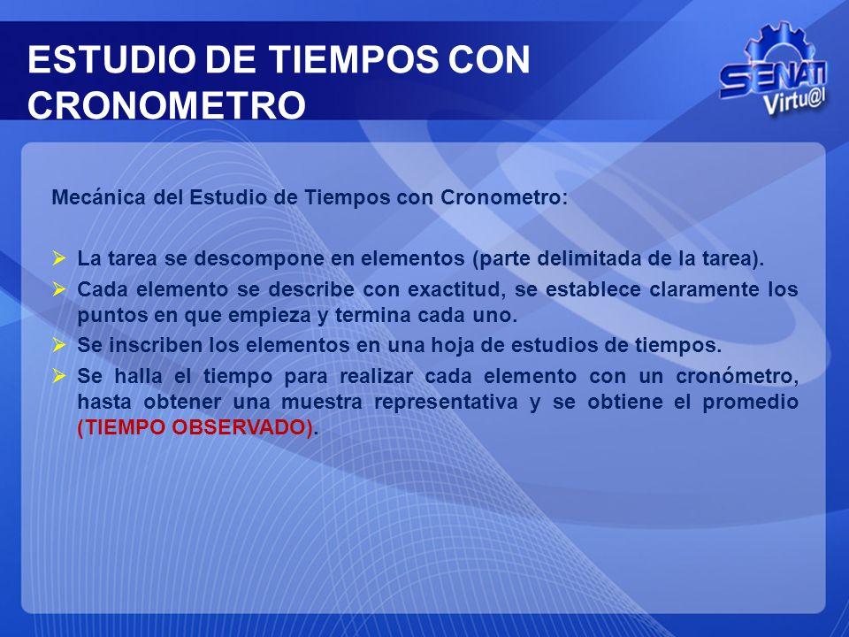 ESTUDIO DE TIEMPOS CON CRONOMETRO