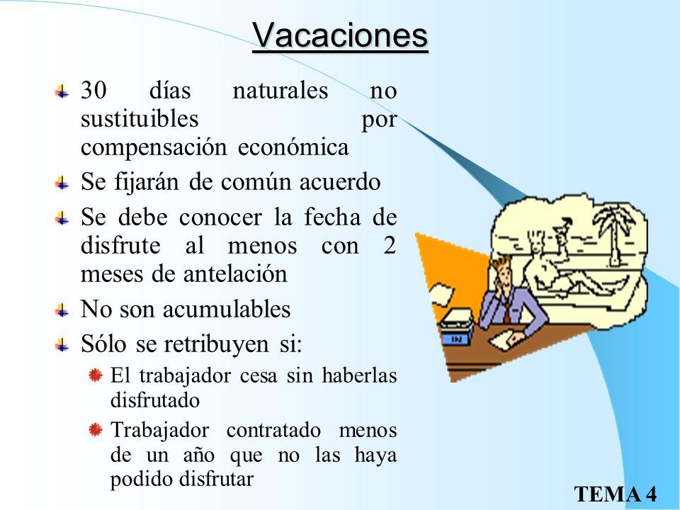 Vacaciones 30 días naturales no sustituibles por compensación económica. Se fijarán de común acuerdo.