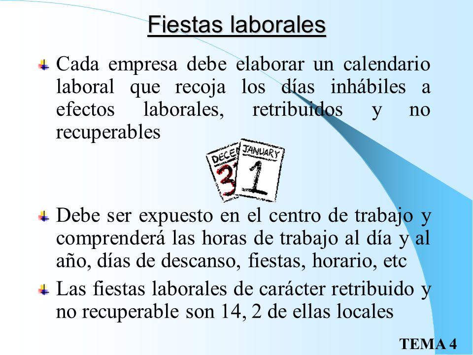 Fiestas laborales Cada empresa debe elaborar un calendario laboral que recoja los días inhábiles a efectos laborales, retribuidos y no recuperables.
