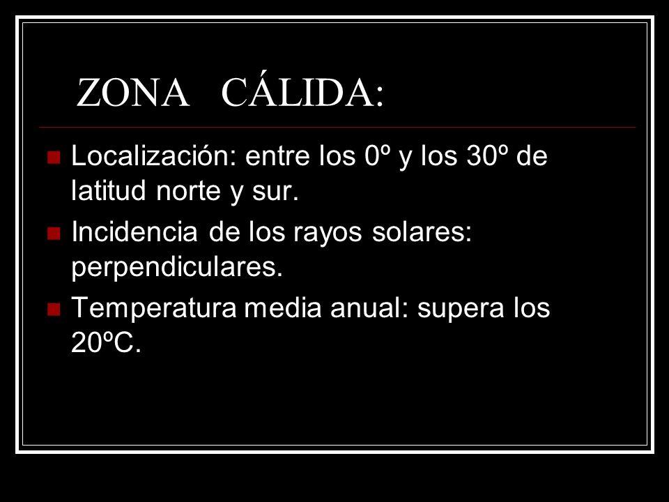 ZONA CÁLIDA: Localización: entre los 0º y los 30º de latitud norte y sur. Incidencia de los rayos solares: perpendiculares.