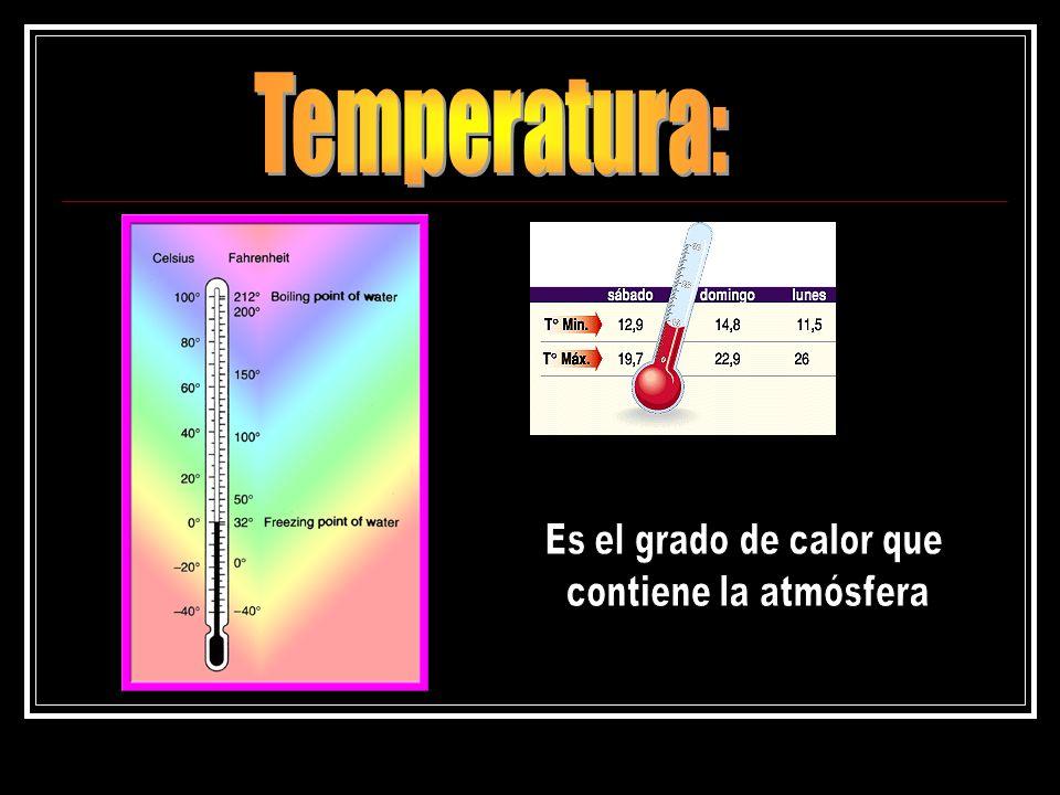 Temperatura: Es el grado de calor que contiene la atmósfera