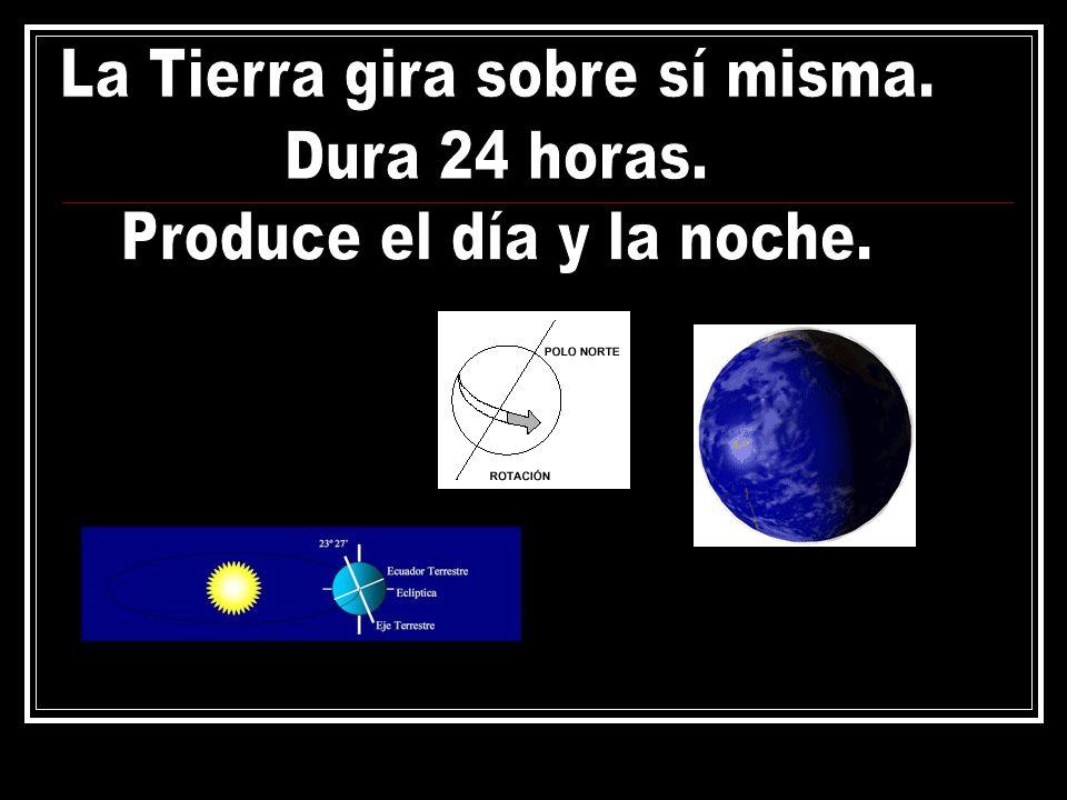 La Tierra gira sobre sí misma. Dura 24 horas.