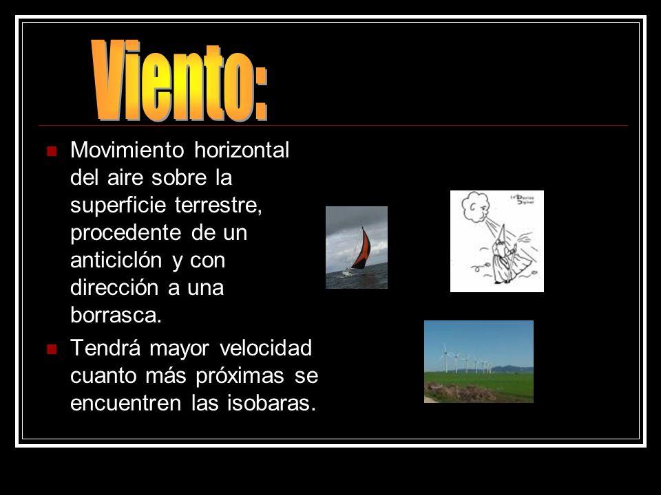 Viento: Movimiento horizontal del aire sobre la superficie terrestre, procedente de un anticiclón y con dirección a una borrasca.