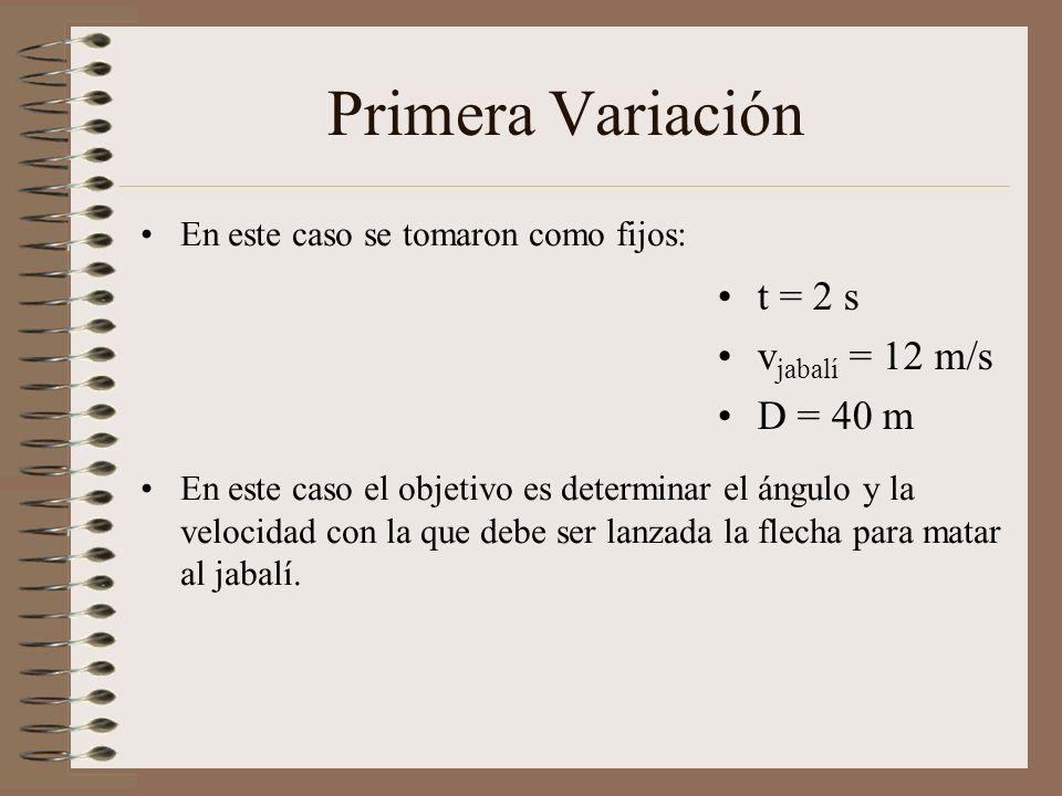 Primera Variación t = 2 s vjabalí = 12 m/s D = 40 m