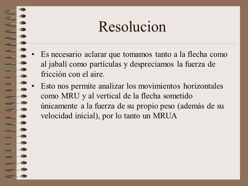 Resolucion Es necesario aclarar que tomamos tanto a la flecha como al jabalí como partículas y despreciamos la fuerza de fricción con el aire.