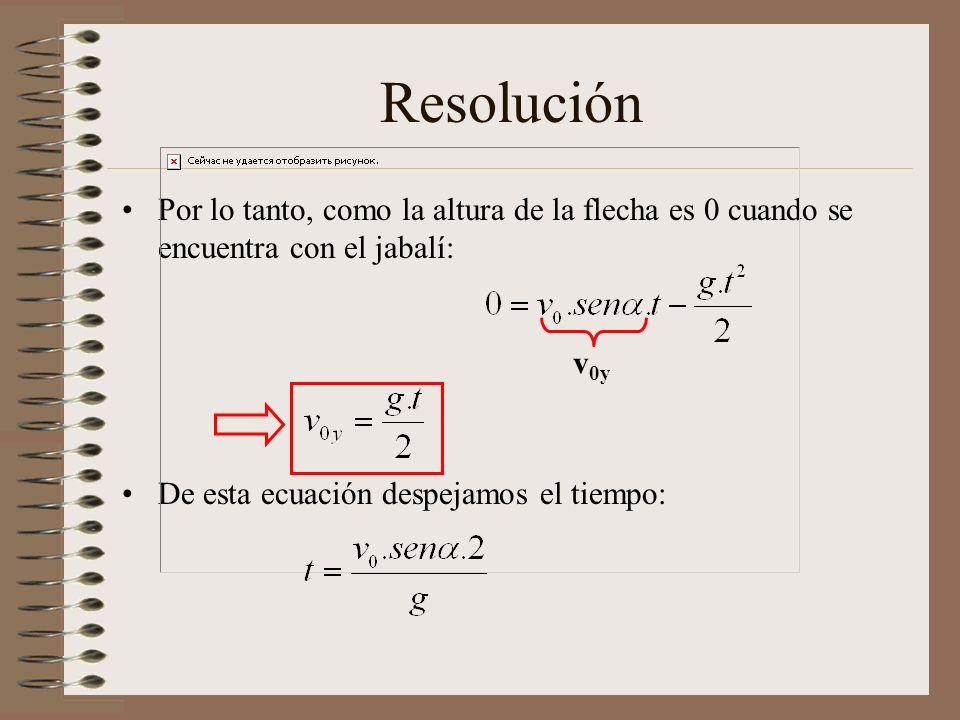 Resolución Por lo tanto, como la altura de la flecha es 0 cuando se encuentra con el jabalí: De esta ecuación despejamos el tiempo: