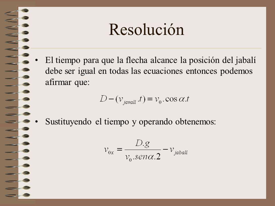 Resolución El tiempo para que la flecha alcance la posición del jabalí debe ser igual en todas las ecuaciones entonces podemos afirmar que: