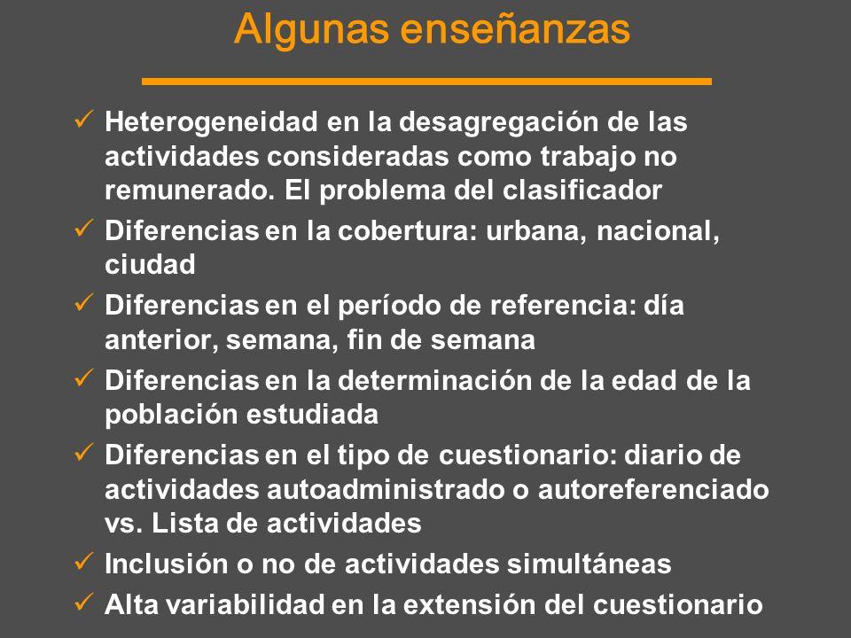 Algunas enseñanzas Heterogeneidad en la desagregación de las actividades consideradas como trabajo no remunerado. El problema del clasificador.
