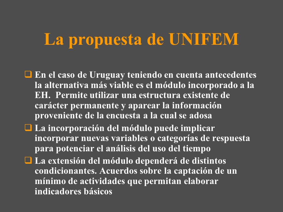 La propuesta de UNIFEM