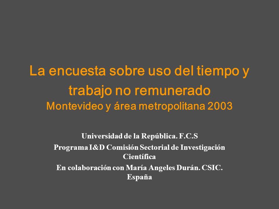 La encuesta sobre uso del tiempo y trabajo no remunerado Montevideo y área metropolitana 2003