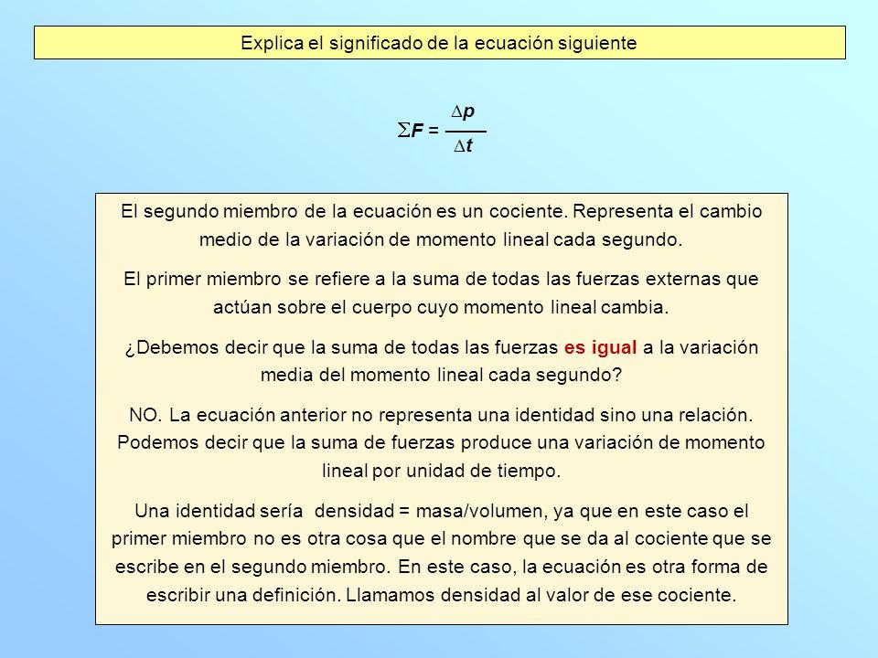 Explica el significado de la ecuación siguiente