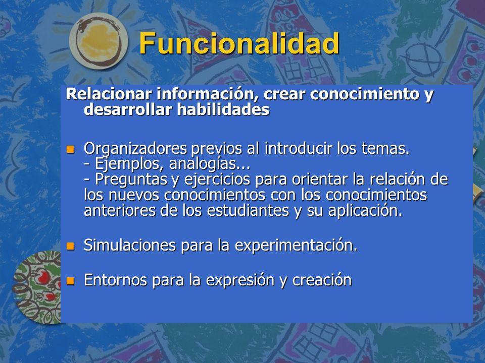 Funcionalidad Relacionar información, crear conocimiento y desarrollar habilidades.