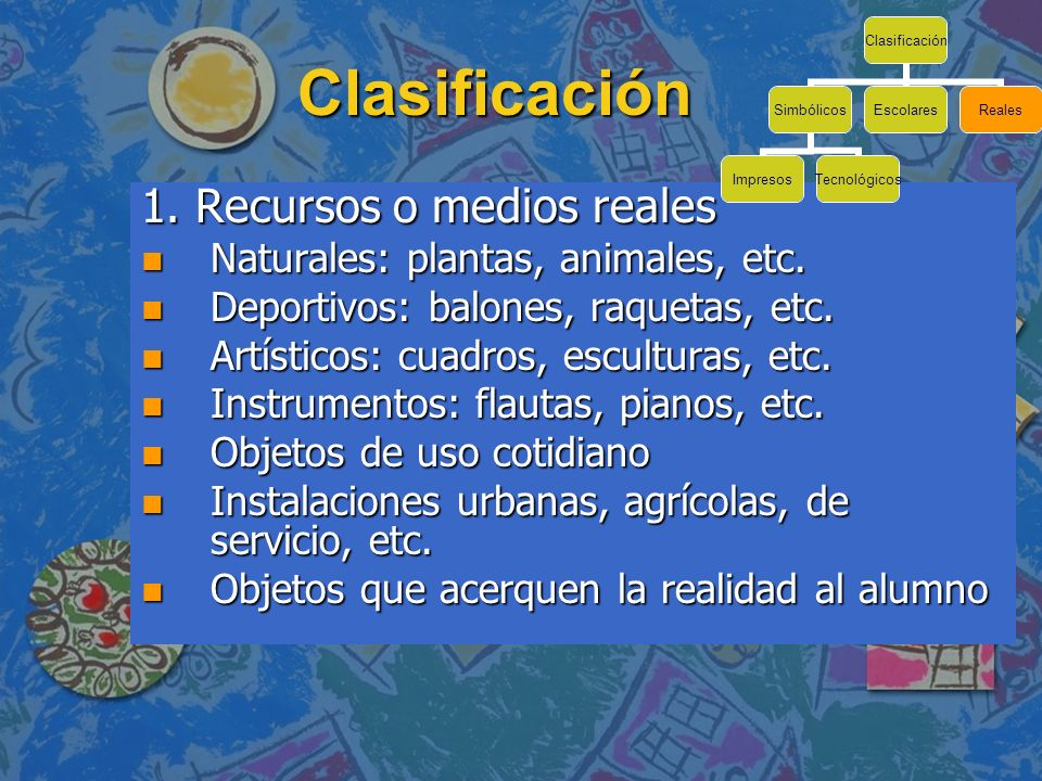 Clasificación 1. Recursos o medios reales