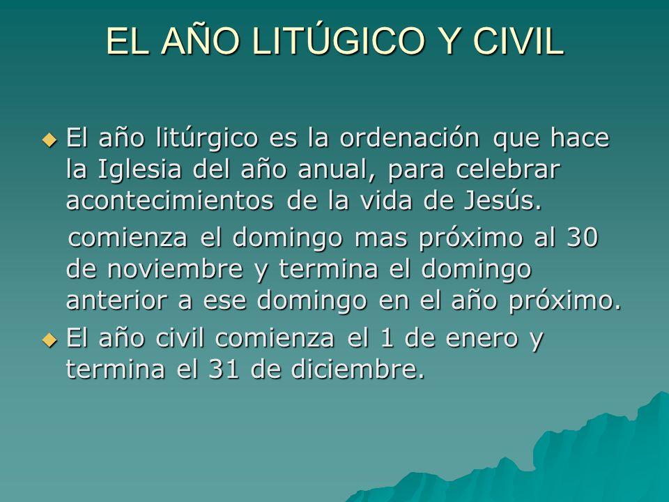 EL AÑO LITÚGICO Y CIVILEl año litúrgico es la ordenación que hace la Iglesia del año anual, para celebrar acontecimientos de la vida de Jesús.