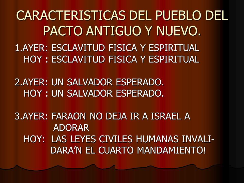 CARACTERISTICAS DEL PUEBLO DEL PACTO ANTIGUO Y NUEVO.