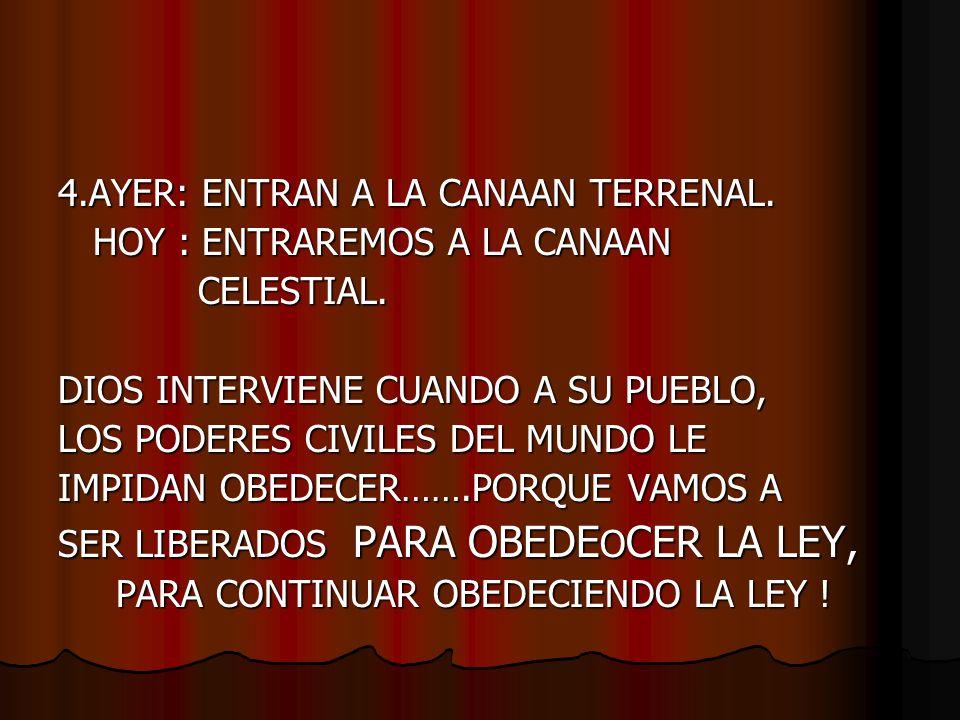 4.AYER: ENTRAN A LA CANAAN TERRENAL.