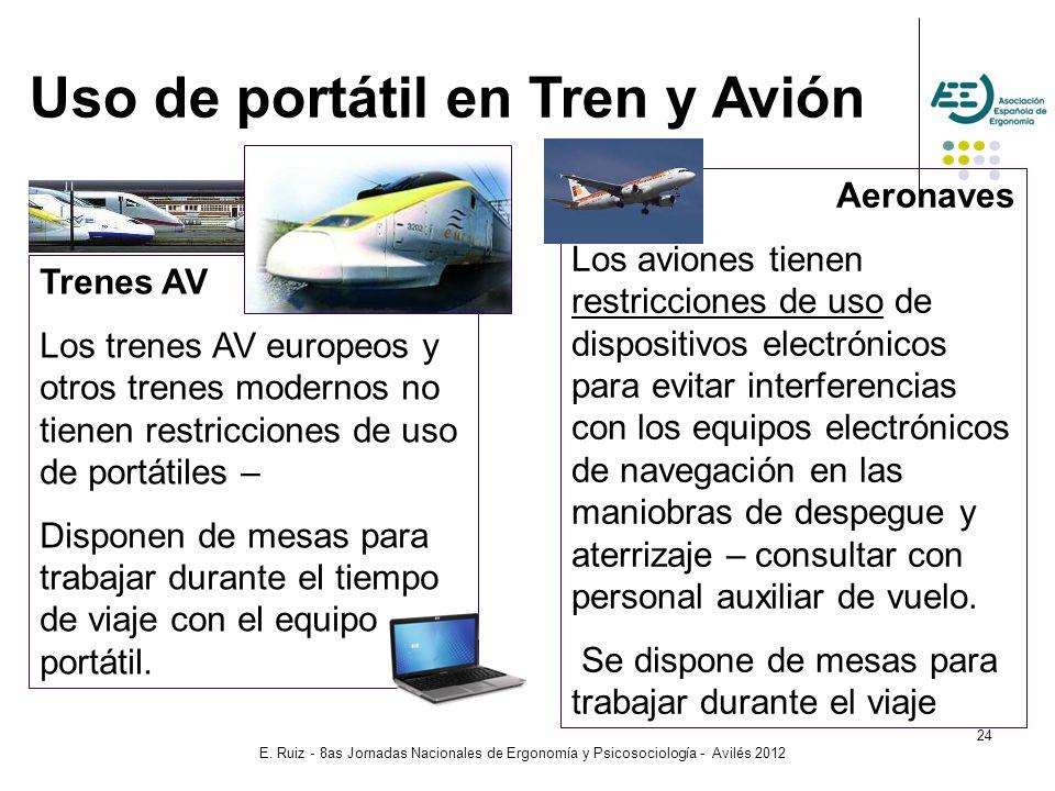 Uso de portátil en Tren y Avión
