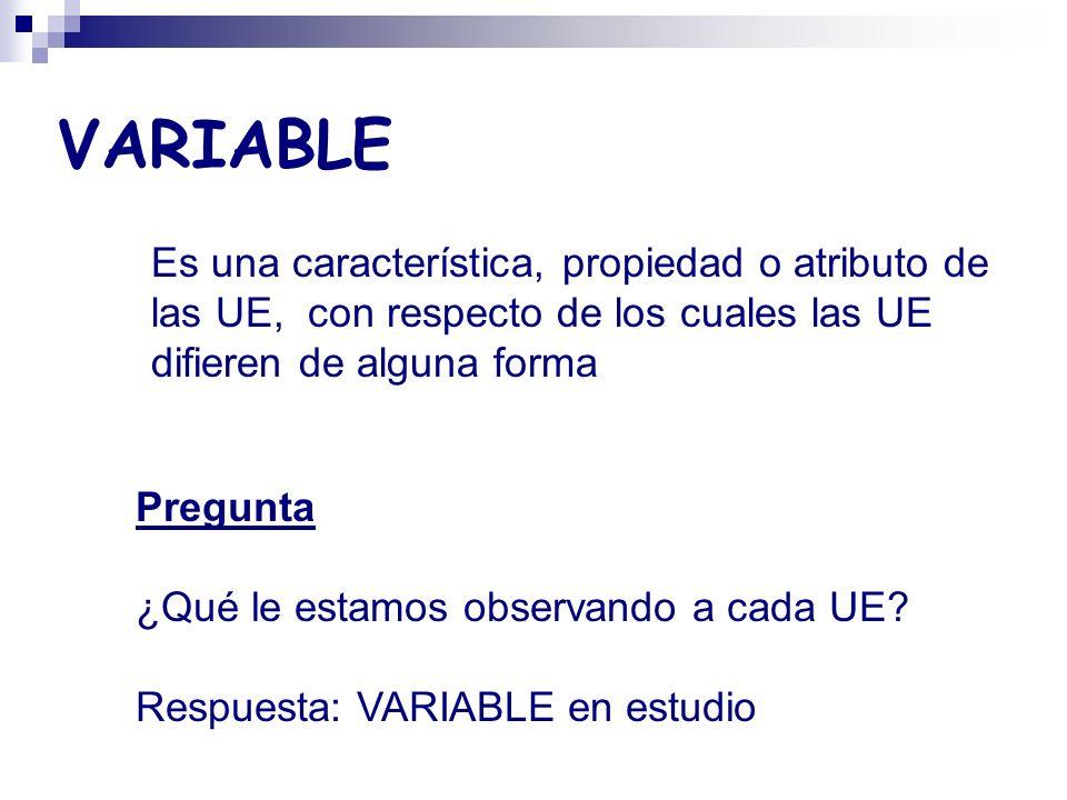 VARIABLE Es una característica, propiedad o atributo de las UE, con respecto de los cuales las UE difieren de alguna forma.