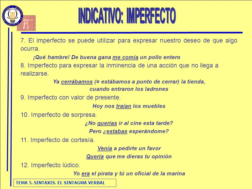 INDICATIVO: IMPERFECTO