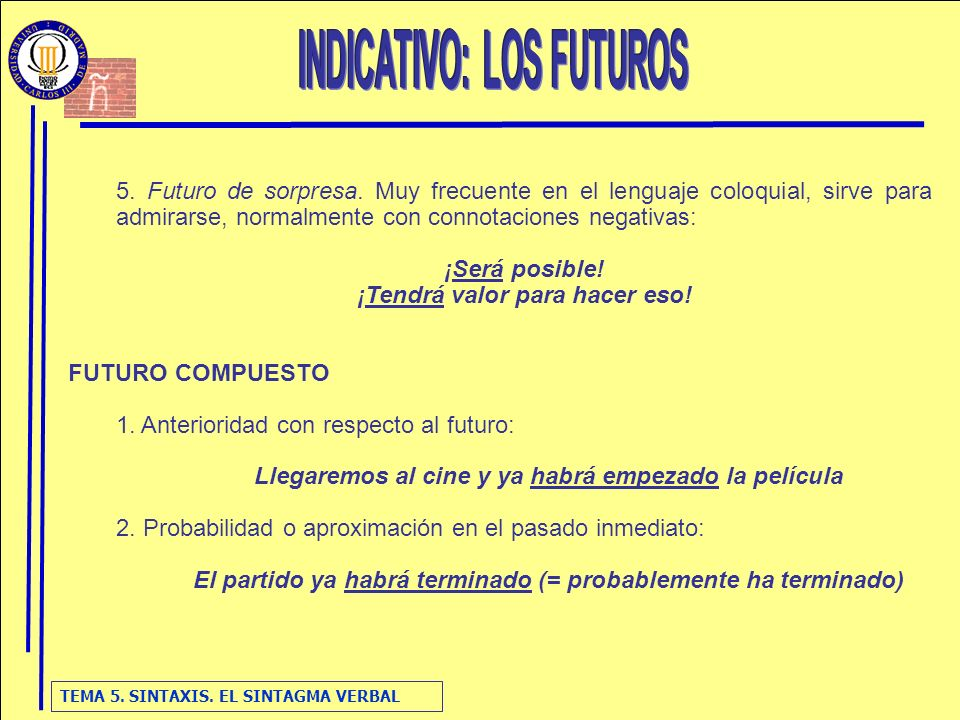 INDICATIVO: LOS FUTUROS ¡Tendrá valor para hacer eso!