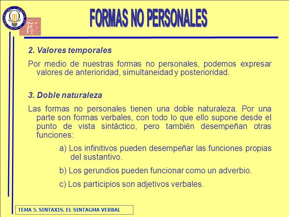 FORMAS NO PERSONALES 2. Valores temporales