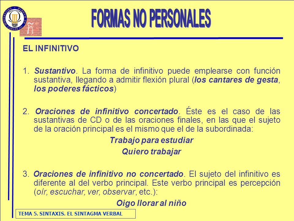 FORMAS NO PERSONALES EL INFINITIVO