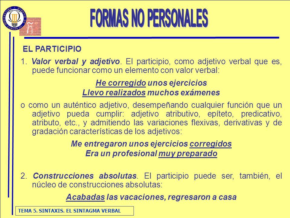 FORMAS NO PERSONALES EL PARTICIPIO
